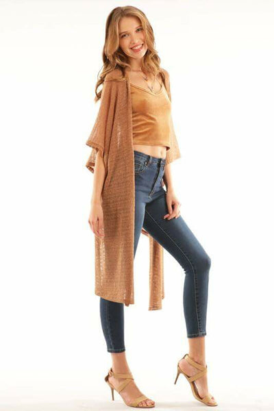Camel Open Front Cardigan
