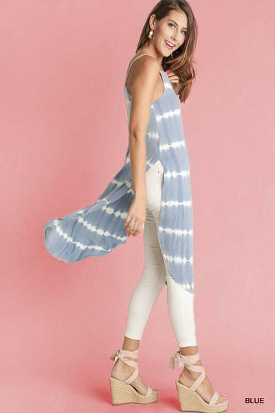 Baby Blue Row Tie Dye Long Cami