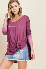Plum Ombre Scoop Neck Top