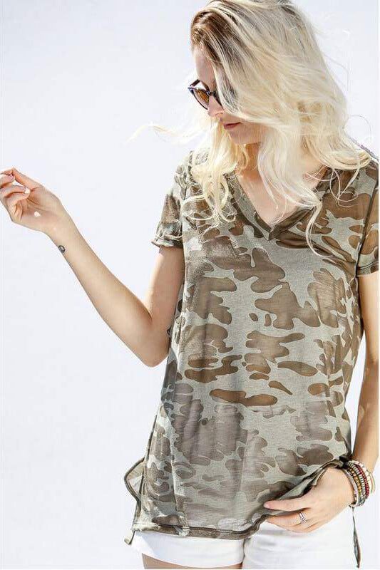 Camo Burnt Out T Shirt