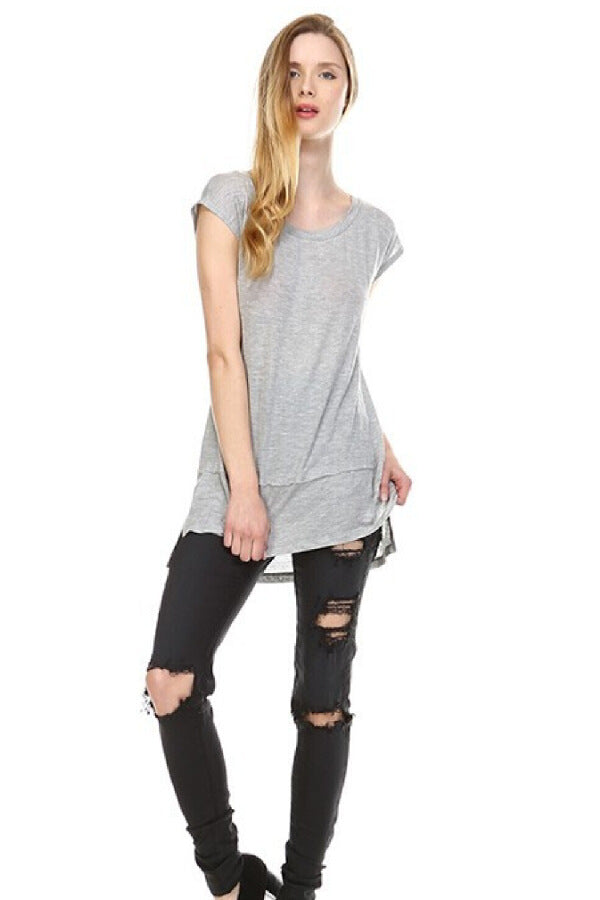 Grey Cap Sleeve Destroyed T Shirt