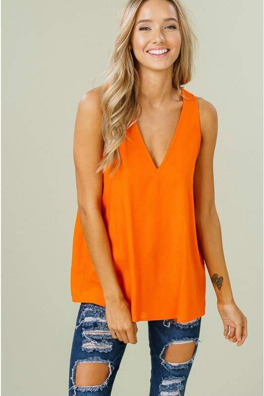 Big Orange Sleeveless Top