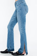 Mid Rise Flare Jeans With Side Split