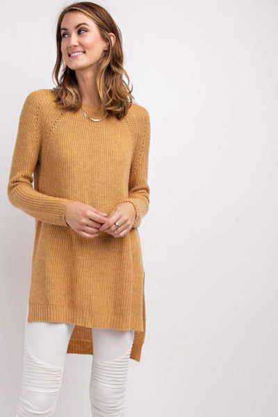 Honey Mustard Pullover High Low Sweater