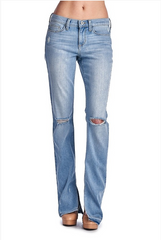 Faded Baby Bootcut Distressed Denim Jeans