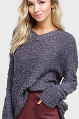 V Neck Two Tone Sweater