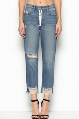 Exposed Zipper Slim Mom Jeans