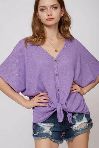 Purple Waffle Weave Button Up Top