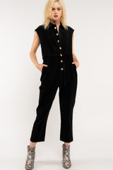 Black Engineer Corduroy Sleeveless Jumpsuit
