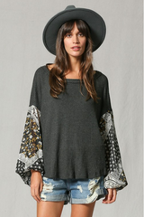 Grey Paisley Puffy Sleeve Thermal