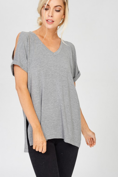 Heather Grey Cold Shoulder T Shirt