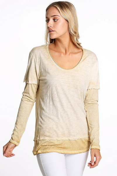 Mustard Oil Washed Layered Long Sleeve T Shirt