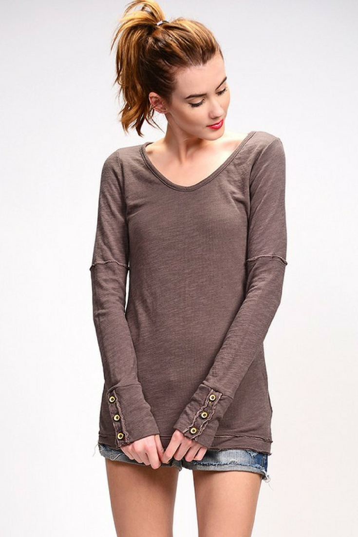 Toast Grey Pointelle Long Sleeve Top