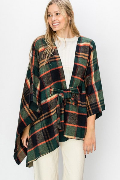 Hunter Green Plaid Flannel Poncho