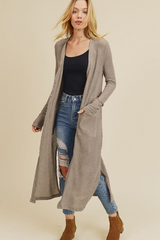 Taupe Waffle Knit Duster