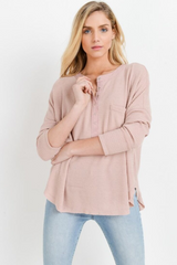 Pink Waffle Knit Henley