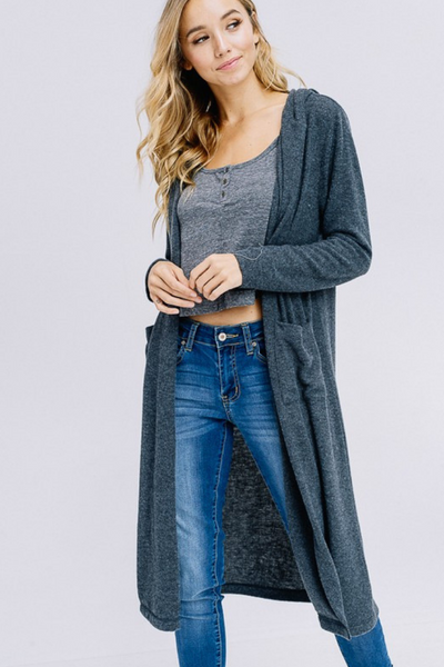 Charcoal Hooded Cardigan