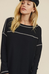 Black Contrast Stitched Waffle Knit Top