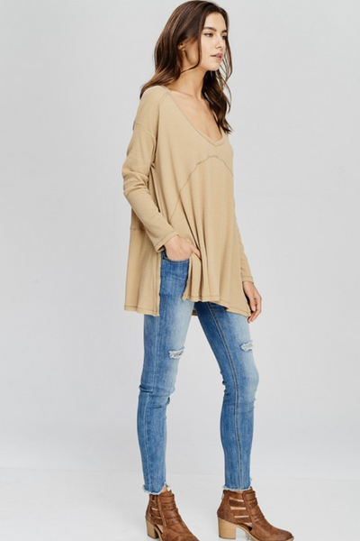 Camel Loose Fit V Neck Top