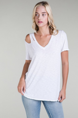Distressed V Neck T Shirt