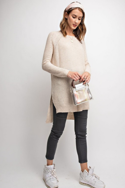 Oatmeal Pullover High Low Hem Sweater
