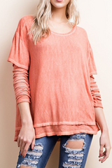 Two Toned Layered T Shirt With Thermal Sleeves