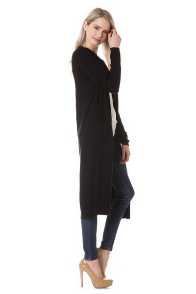 Black Long Cardigan With Side Slit
