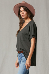 Cotton Slub V-Neck Oversized Pocket Front Short Slv Basic T-Shirt