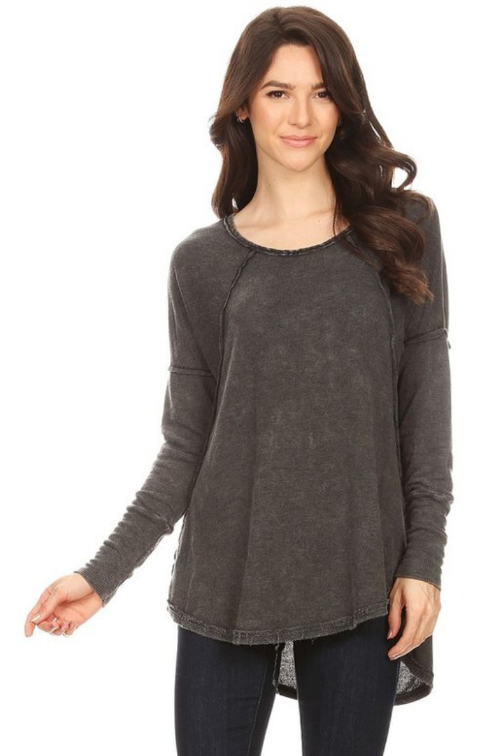 Charcoal Mineral Wash Long Sleeve Top