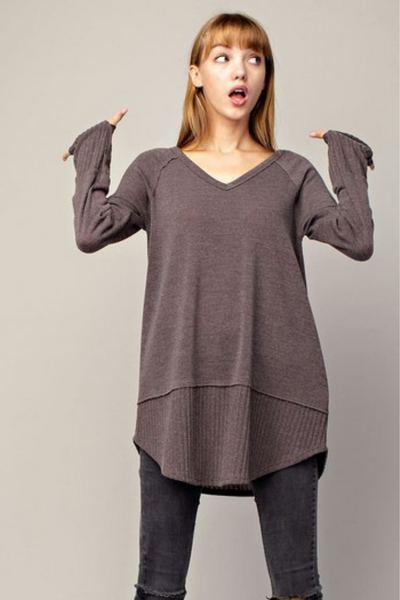 Mocha Thumbholed Sleeve Knit Sweater