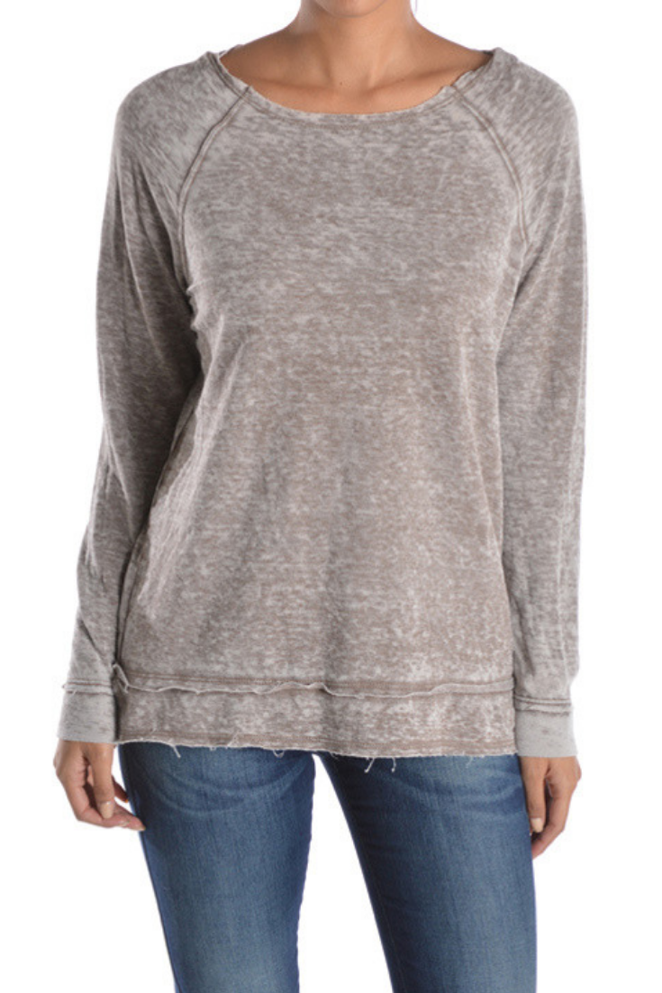 Mocha Raw Edge Burn Out Sweater