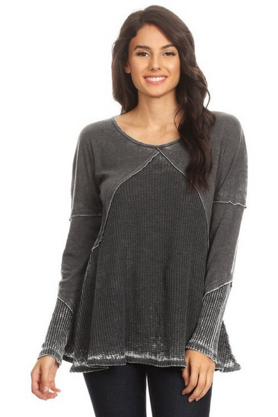 Black Long Sleeve Thermal Burnout Top