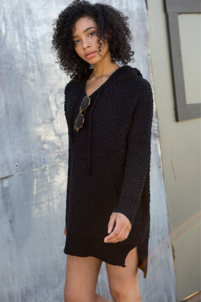 Black Mohair Pullover Hoodie Dress