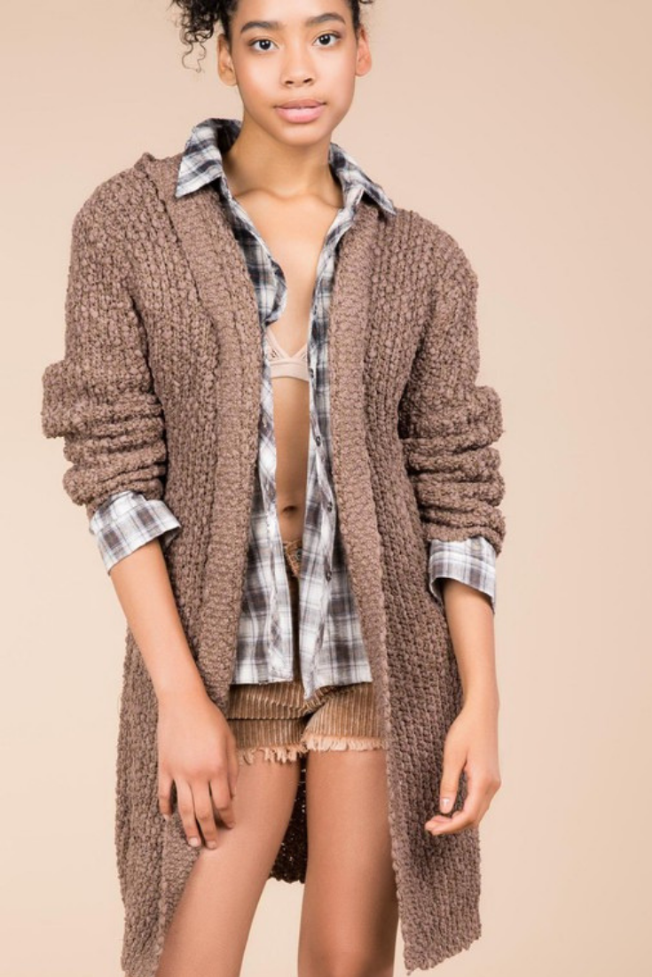 Chocolate Popcorn Sweater Cardigan