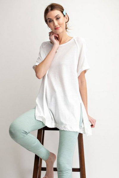 White Cotton High Low T Shirt