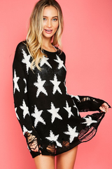 Black Star Distressed Knit Sweater