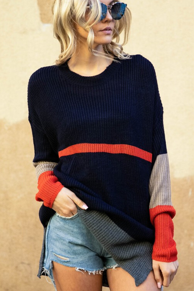 Navy Color Block Striped Sweater