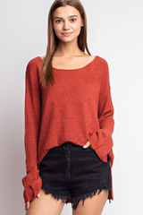 Brick Lightweight Slit Sleeve Boat Neck Sweater