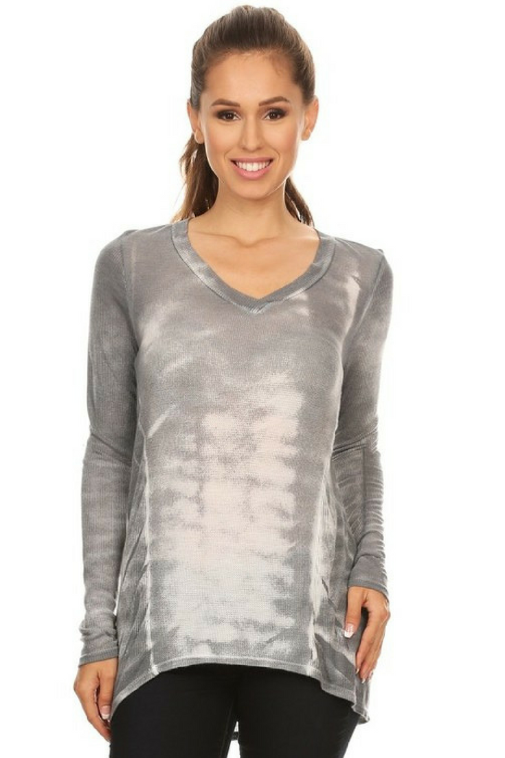 Grey Long Tie Dye Top
