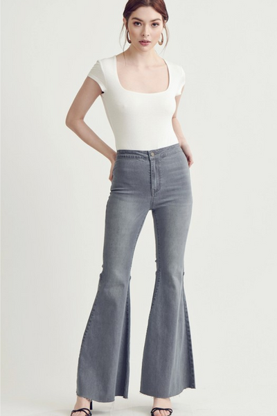 Charcoal High Rise Flare Jeans