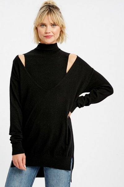 Black Mock Neck Layered Sweater