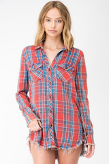 Red Plaid Rough Hem Shirt