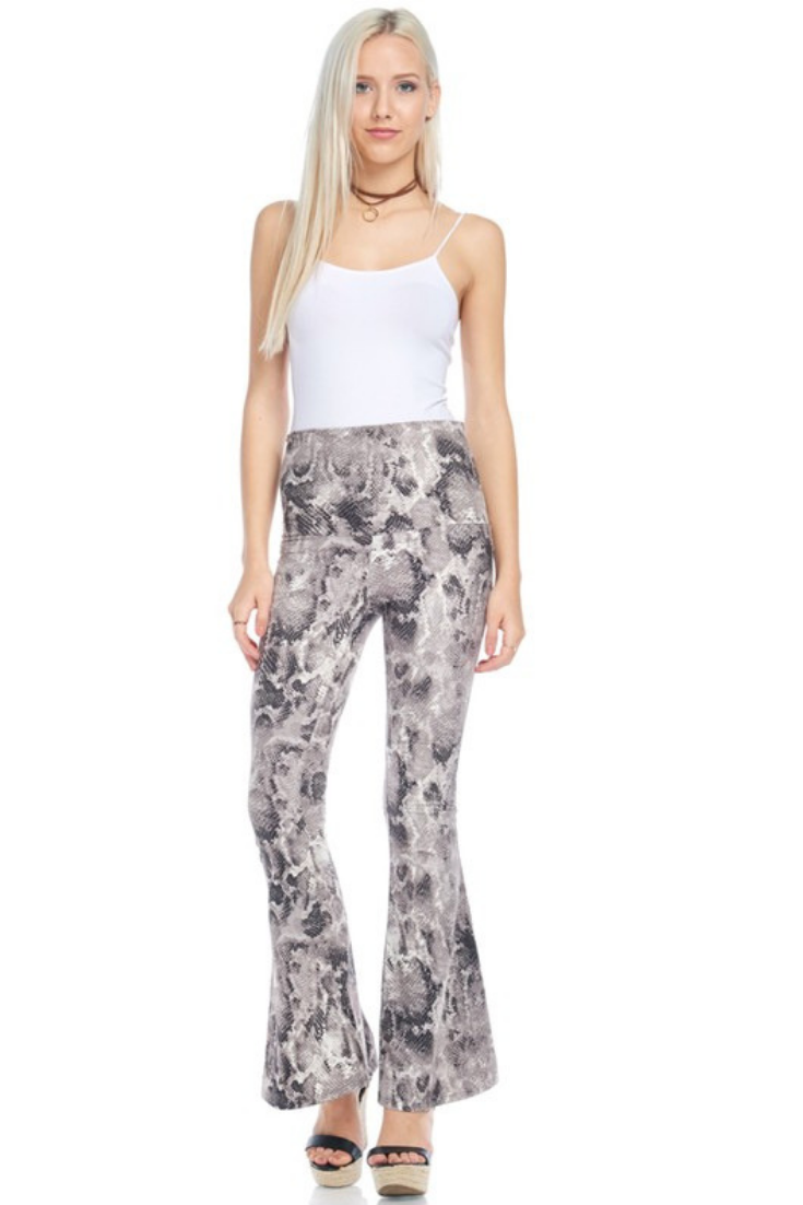 Micro Suede Bell Bottom Snake Skin Pants