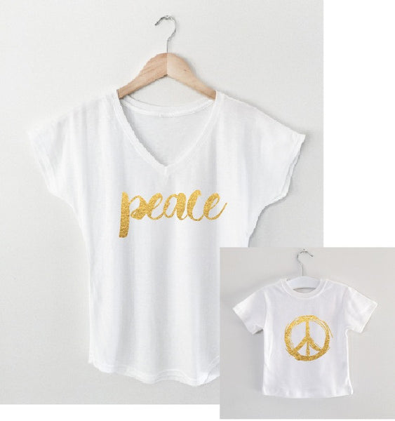 PEACE mother/daughter tee matching set