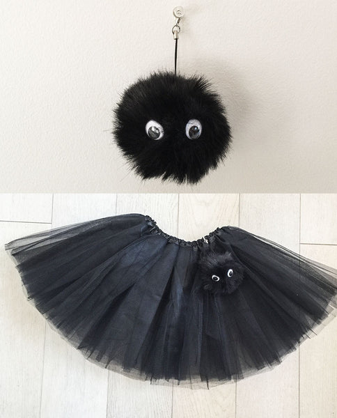 Black tutu with faux fur pompom buddy