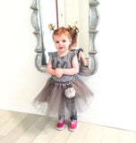 Silver tutu with faux fur pompom buddy