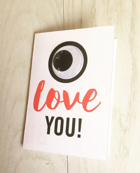 Googly eye love you card