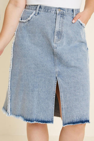 Frayed Denim Skirt - Plus Only