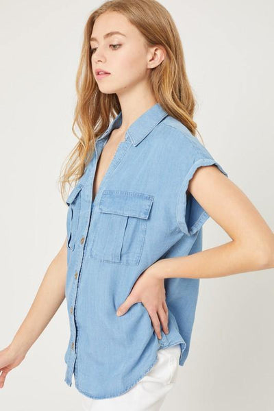 Capped Denim Top