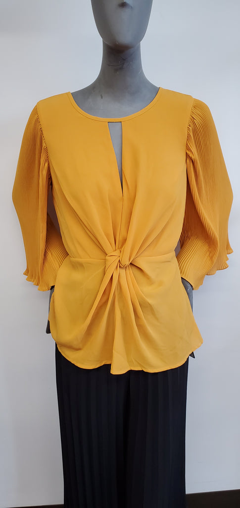All Twisted Blouse Top - Mustard